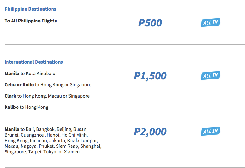 Oferta Cebu Pacific Filipine