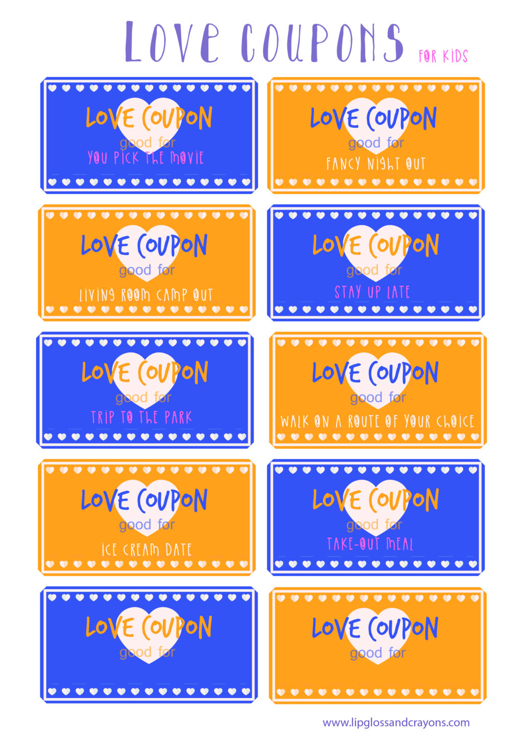 Love Coupons For Kids Lipgloss And Crayons