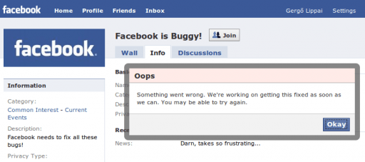Facebook is buggy!