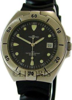 Tempic Quartz Sport Herrenuhr Edelstahl Datum schwarz vintage design mens watch