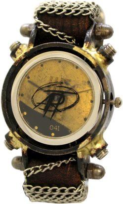 H5 ART 041 besondere Herrenuhr Armbanduhr Design Uhr vintage men watch mit Schrauben und Ketten Lederarmband braun