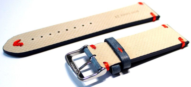Hektor Uhrenarmband dickes Leder blau antik Optik Naht rot lieferbar in 18, 20, 22 oder 24mm