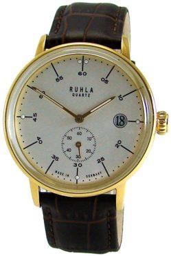 Ruhla Made in Germany classic Stil Bauhaus gold weiss braun Lederband Stahl 40mm