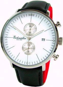Eichmüller Quarz Chronograph Herrenuhr Lederband schwarz Stil Bauhaus weiß 44mm