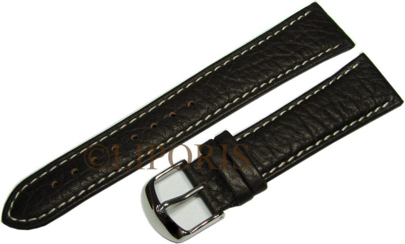 HEKTOR Flieger Herren Uhrenarmband Naht weiß genarbtes Leder dunkel braun 22mm