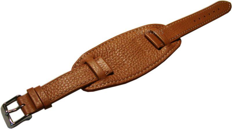 HEKTOR Flieger Herren Unterlagen Uhrenband weiches Leder hellbraun