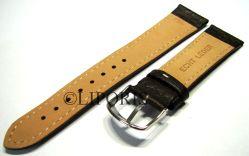 HEKTOR Flieger Uhrenband für Herren genarbtes Leder dunkel braun Naht weiß 22mm