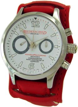 Riedenschild Germany AdvancePro mechanischer Schaltrad-Chronograph Herrenuhr Lederband rot