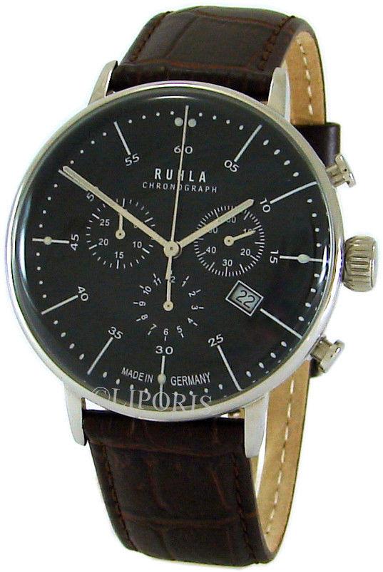 Ruhla Germany Herren Quarz Chronograph analog Lederband braun Stil Bauhaus 42mm