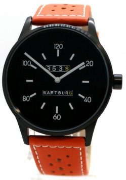Wartburg 353S Herrenuhr analog Quarz Stahl schwarz gelochtes Lederband orange