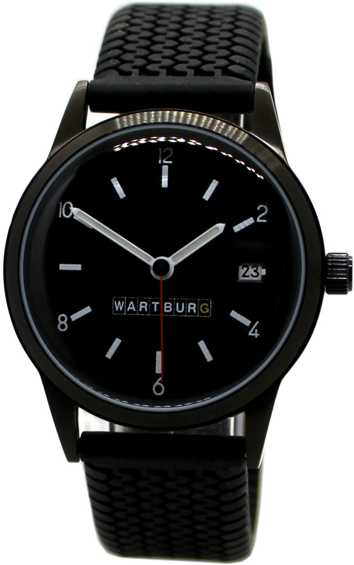 Wartburg 353 Automatik Herrenuhr Datum Reifenprofil Design Uhrband schwarz 38mm