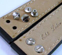 HEKTOR Herren Leder Flieger Uhrband schwarz Schrauben poliert matt Anstoß 22mm