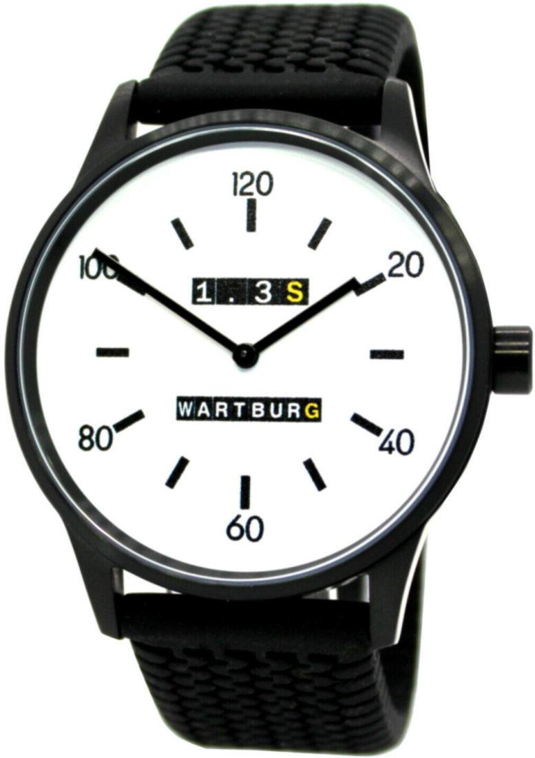 Wartburg Herrenuhr 1.3S Edelstahl schwarz Uhrband Reifenprofil Germany 42mm Referenz 473