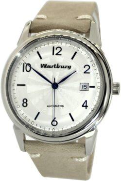 Wartburg Automatic Herrenuhr Klassik 482 Edelstahl Lederband weiß blau 40mm