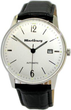 Wartburg Automatic Herrenuhr Klassik 483 weiß Edelstahl Lederband schwarz 40mm