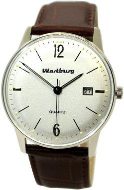 Wartburg Klassik Herrenuhr 484 Quarz analog weiß Stahl Lederband braun 40mm