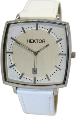 HEKTOR Monitor unisex Armbanduhr Edelstahl Quarz Werk mit Datum Lederband weiß