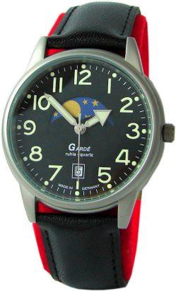 Garde Ruhla Armbanduhr echte Mondphase 35mm schwarz Lederband Made in Germany 3-46