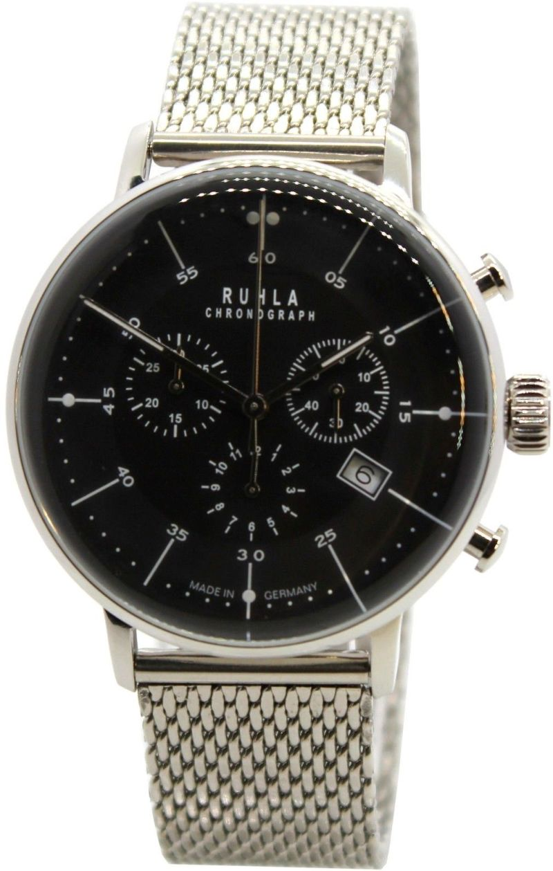 RUHLA Herren Quarz Chronograph schwarz Stil Bauhaus dickes HEKTOR Milanaiseband