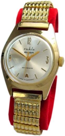 UMF Ruhla Germany Anker mechanische Handaufzug Uhr mit Zugband vergoldet