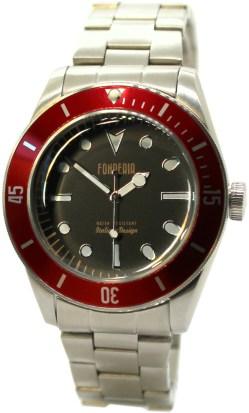 FONDERIA Herren Quarzuhr Edelstahlband schwarz rot vintage design mit Blechbox