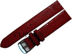 Herren Uhrenarmband Leder Perlroche geschliffen rot Bandanstoß 20mm Dornschließe