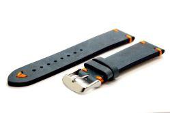 Sonderserie Uhrenarmband dickes Leder blau antik Optik Naht orange Uhrband 22mm