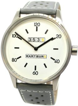 Wartburg 353 S weiß Herrenuhr Edelstahl gebürstet Leder Uhrenarmband grau
