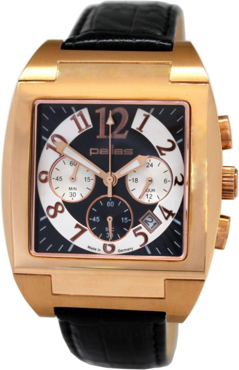 pallas Herrenuhr Made in Germany großer Chronograph Quarz Uhrband Leder schwarz