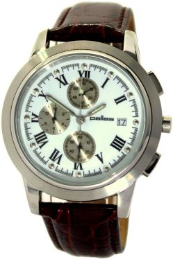 pallas klassische Herrenuhr Quarz Chronograph Edelstahl Uhrband Leder rot braun