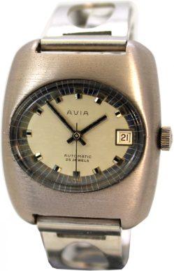 Avia Automatic 25 Jewels Datum swiss made Uhr silber 10295 vintage