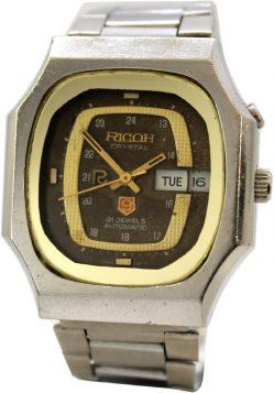 Ricoh Automatic 21 Jewels Tag und Datum mit Datumslupe bicolor mechanische unisex Armbanduhr mit Metallband 040121
