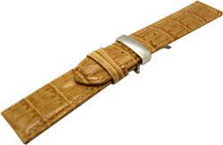 Liporis Uhrenarmband mit Butterfly Faltschließe echt Leder hell braun beige mit Kroko Prägung 22mm
