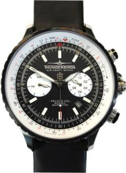Thunderbirds Falcon XXL Automatic Multifunktion mechanische Herrenuhr Edelstahl DFC-Glas schwarz weiß 46,5mm 1069