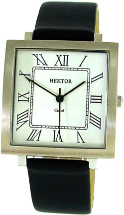 Hektor Herrenuhr Germany Carre Edelstahl mens dress watch Quarz römische Ziffern 33mm x 34mm