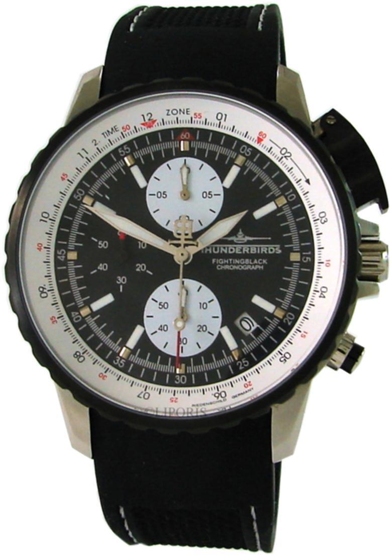 Thunderbirds Fighting Black Chronograph Herrenuhr Edelstahl schwarz weiß 43mm 1057