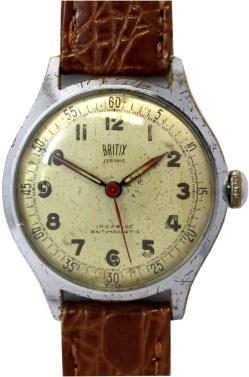 Britix mechanische Herrenuhr 17 Steine swiss made vintage Lederband braun Kroko optik 33mm