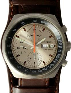 Predial mechanischer Automatik Chronograph swiss made day date Military Bund Uhrband mit Unterlage braun gebraucht