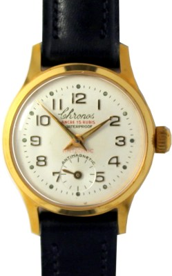 Chronos Damenuhr mechanisch Ancre 15 Rubis dezentrale Sekunde 10M vergoldet vintage Lederband blau 27mm gebraucht
