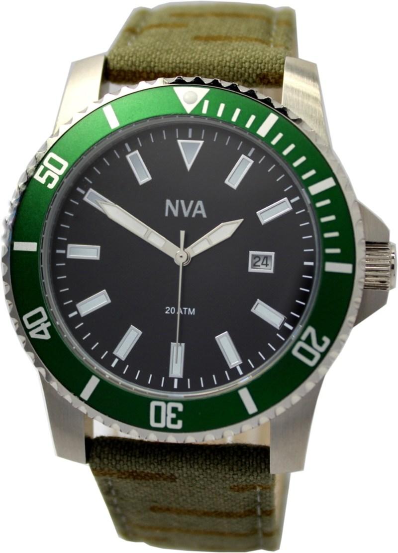 NVA Herrenuhr Edelstahl Lünette grün 43mm Uhrband Tarnmuster geschraubte Krone 20BAR 200m