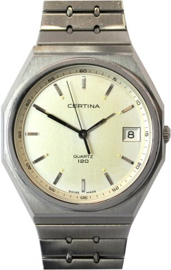 Certina Quartz 120 Herren Armbanduhr swiss made Datum Edelstahl 35mm x 38mm