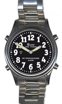 Garde Funkuhr Zeitansage für Sehbehinderte Blindenuhr Edelstahl visually impaired RC-watch 1136-3M 40mm