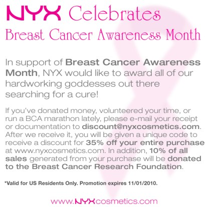 NYX Breast Cancer Awareness Month Discount