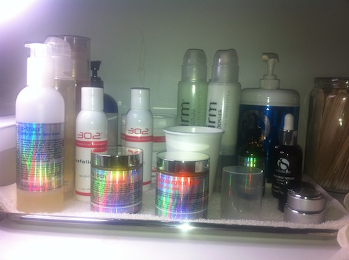 Skincare products used at Exhale Spa