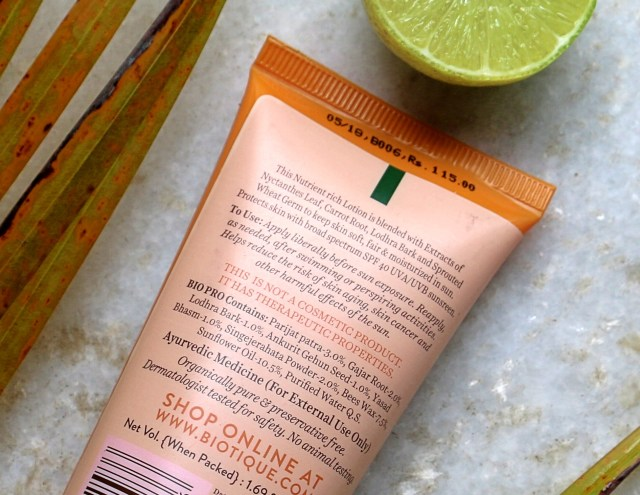 Biotique Bio Carrot Ultra Soothing Face Lotion SPF 40+ | Review