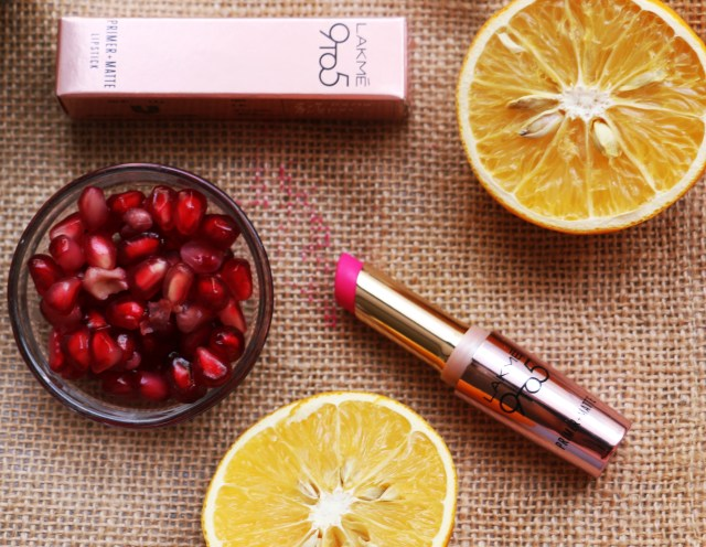 Lakme 9 to 5 Primer + Matte Lipstick - Fuchsia File | Review & Swatches
