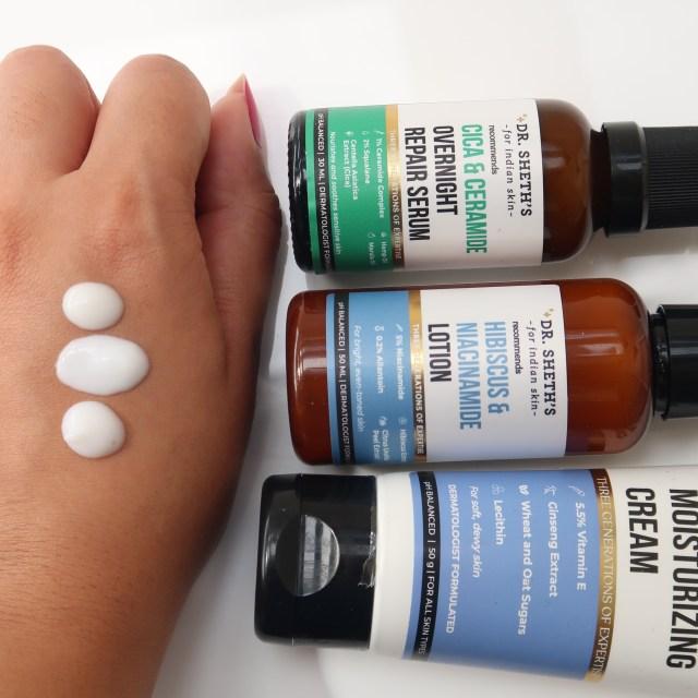Dr. Sheth's Cica & Ceramide Serum vs. Hibiscus & Niacinamide Lotion vs. Ginseng & Vitamin E Cream Textures