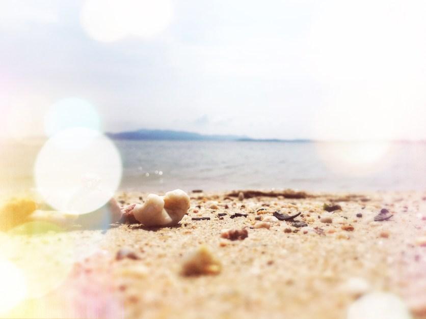 Sand on a secret beach in Riau, Indonesia