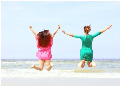 旅行、海、夏、友達