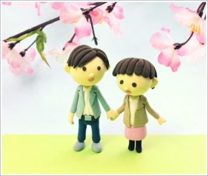 お花見、春、カップル